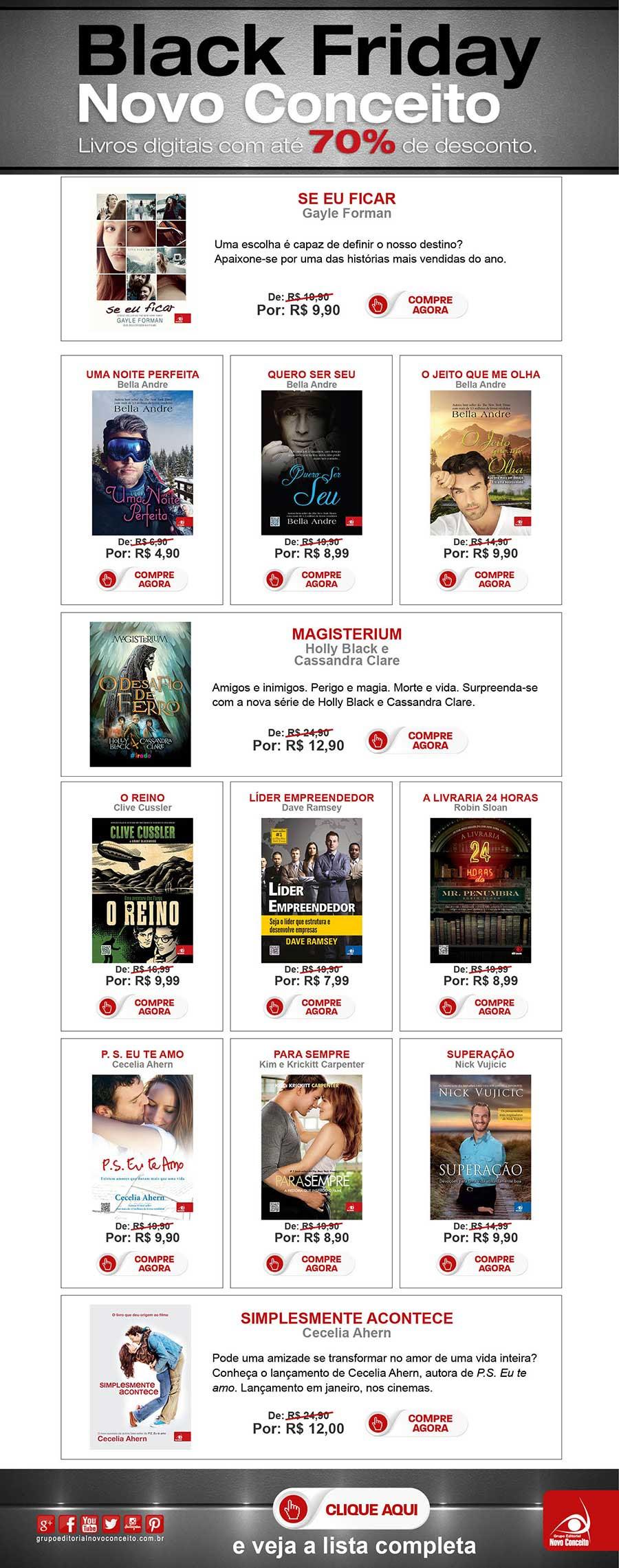 Black Friday Novo Conceito. Livros digitais com preço especial