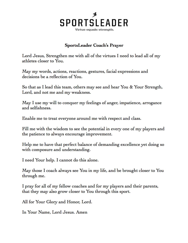SL Coach s Prayer