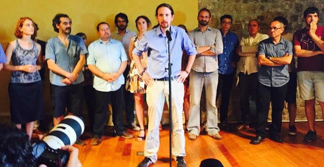 Pablo Iglesias, durante la presentación del acuerdo Podemos-Catalunya Sí que es Pot. M.D.