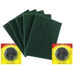 Combo - 5 Green Scrub & 2 Steel Scrub (Both Large Size)