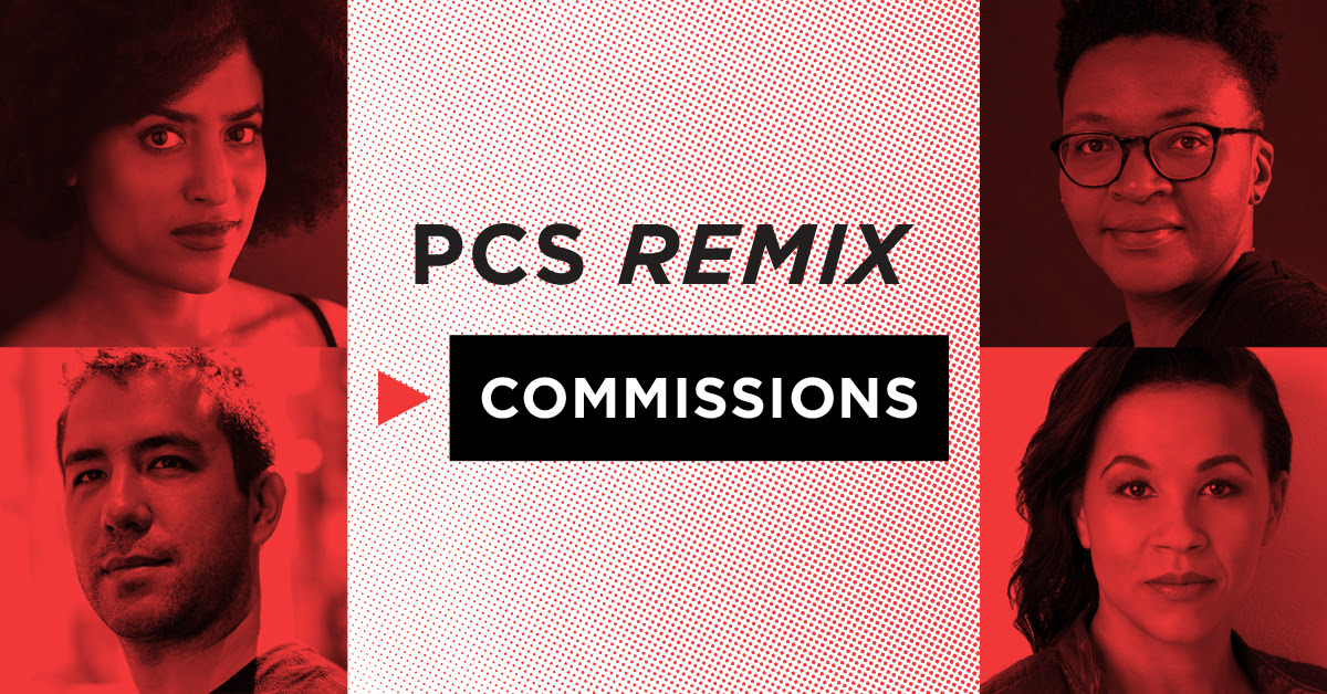 "A red, black, and white graphic that reads ""PCS Remix Commissions"" and has four artist's headshots"