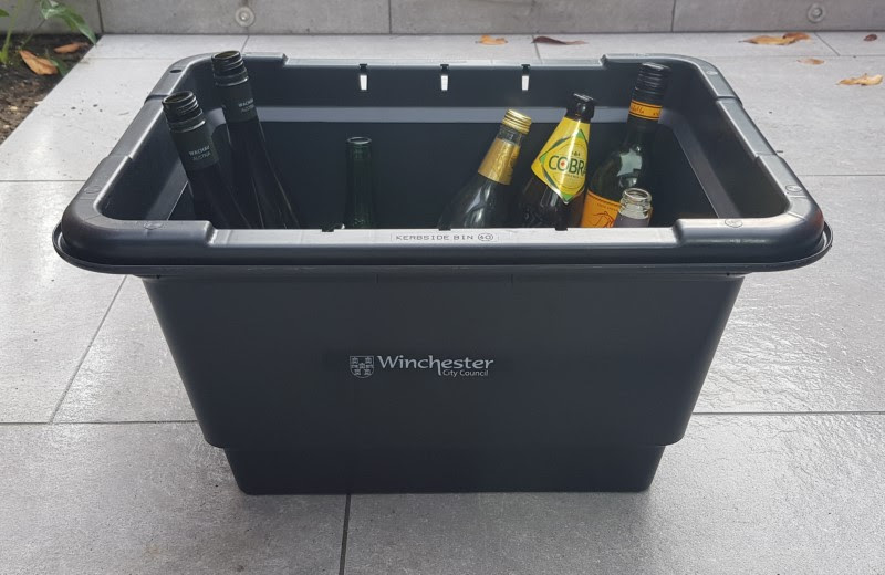 Photo of a new Winchester City Council doorstep glass collection box