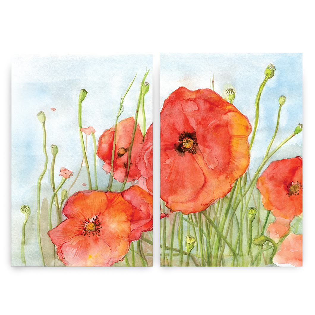 Poppy print set of two