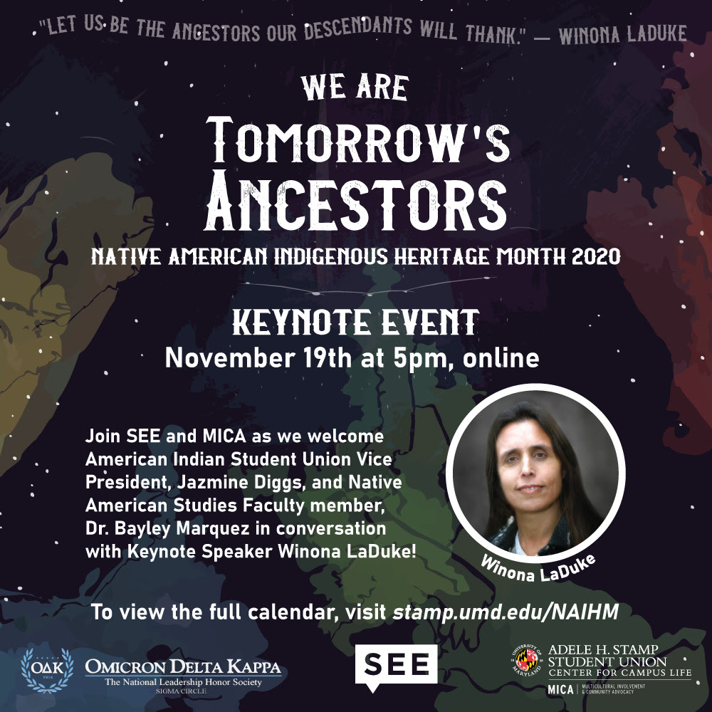 Event details are repeated with a photo of Winona LaDuke and the quote 'let us be the ancestors our descendants will thank'