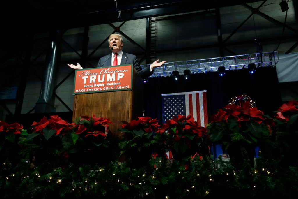 Donald J. Trump addressing supporters at a campaign rally on Monday in Grand Rapids, Mich.