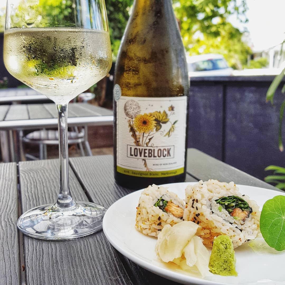 Bottle and glass of Loveblock Marlborough Sauvignon Blanc