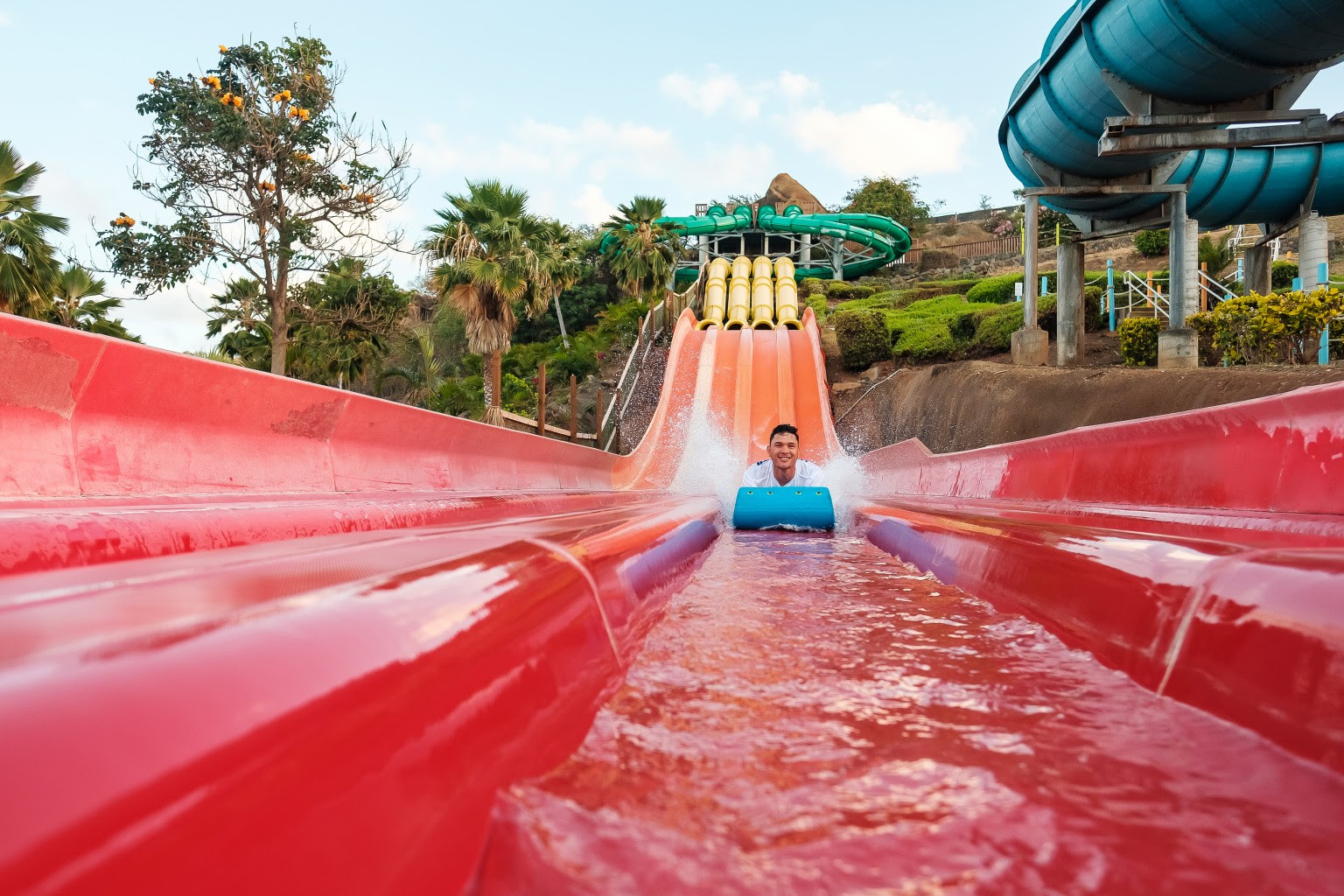 Keanu Santana's love of water led him to a job as a waterslide tester at Wet'n'Wild Hawaii. He's now the director of operations.   Photo: Aaron Yoshino