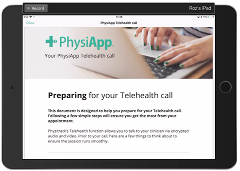 PhysiApp Telehealth call