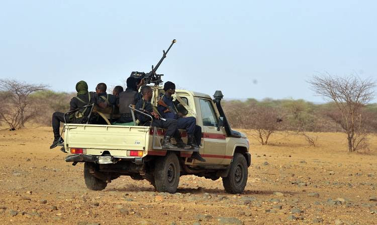 Niger's army forces patrol near the new UNHCR Imbaidou refugee camp in 2012. (Issouf Sanogoissouf Sanogo/AFP)