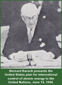 Bernard Baruch presents the United States plan for international control of atomic energy to the United Nations, June 14, 1946.