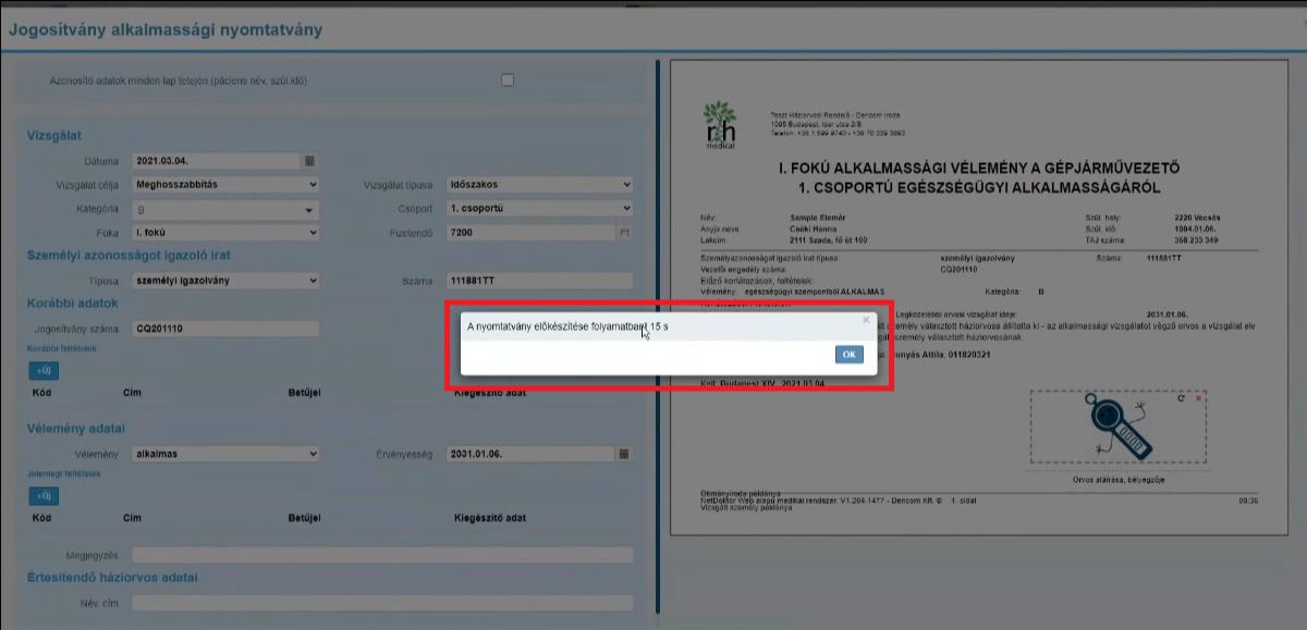 jogosítvány alkalmassági nyomtatvány