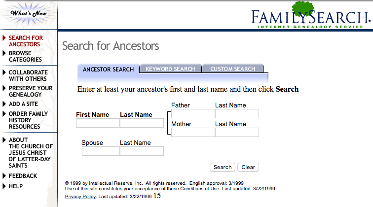 FamilySearch.org Homepage as it appeared in 1999.