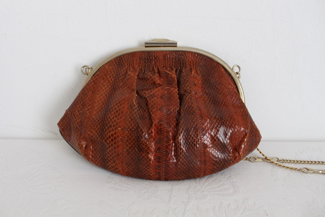 GENUINE SNAKE SKIN VINTAGE EVENING BAG