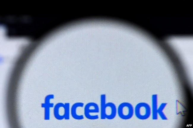 Facebook logo is pictured on a laptop screen in Moscow on August 26, 2021. (AFP)