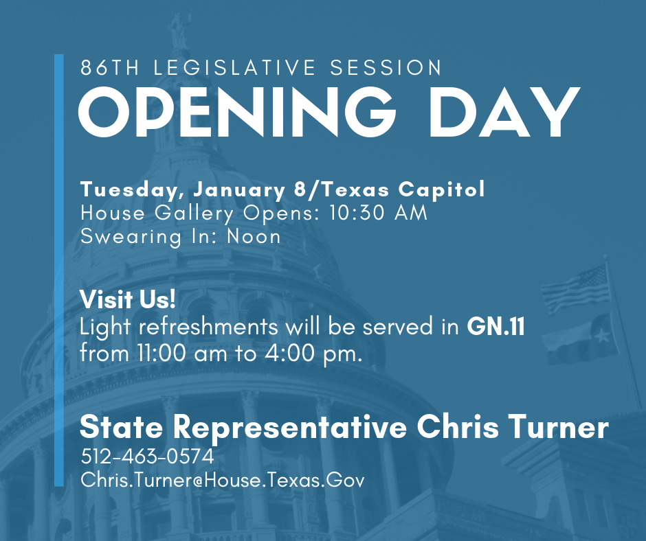 Join us for opening day of the 86th Legislature.