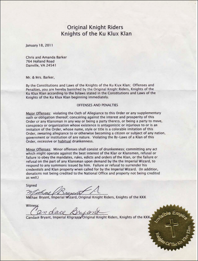 The banishment--or expulsion--document against Loyal White Knights leader Barker from a previous KKK group, the Original Knight Riders of the KKK