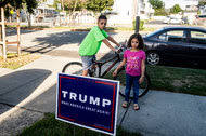 Abubeckr Elcharfa, 13, and his sister Maaria, 7, in their Staten Island neighborhood. The siblings are part of a Muslim family living in a Republican stronghold.