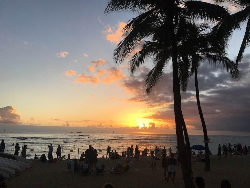 ワイキキビーチでの夕陽。たくさんの人がこの瞬間を見守ります。