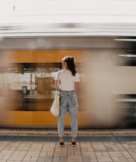 Women waiting for a train