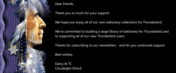 Cloudeight Stationery for Thunderbird - Spinner of Dreams