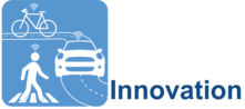 Innovation Logo with bicycle, car, and pedestrian, with connected symbols above each one