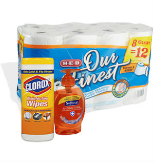 $5 off $15 or antibacterial hand soap, tissue, paper towels and disinfectant wipes