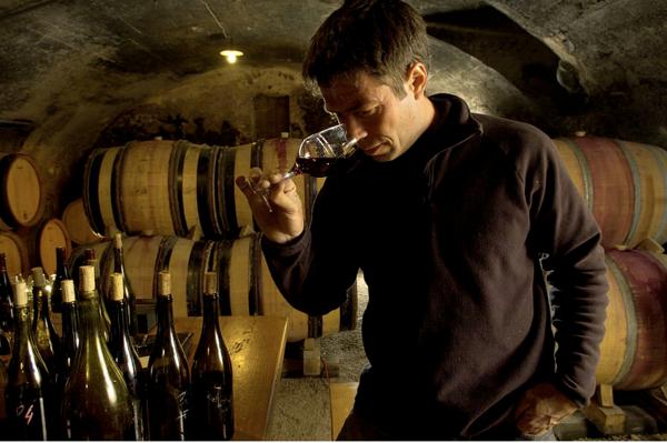 Beaujolais Villages Blanc winemaker: Jean-Marc Burgaud in the wine cellar