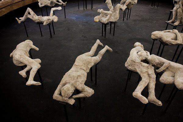 Casts of victims of the eruption of Mount Vesuvius in Pompeii, Italy.