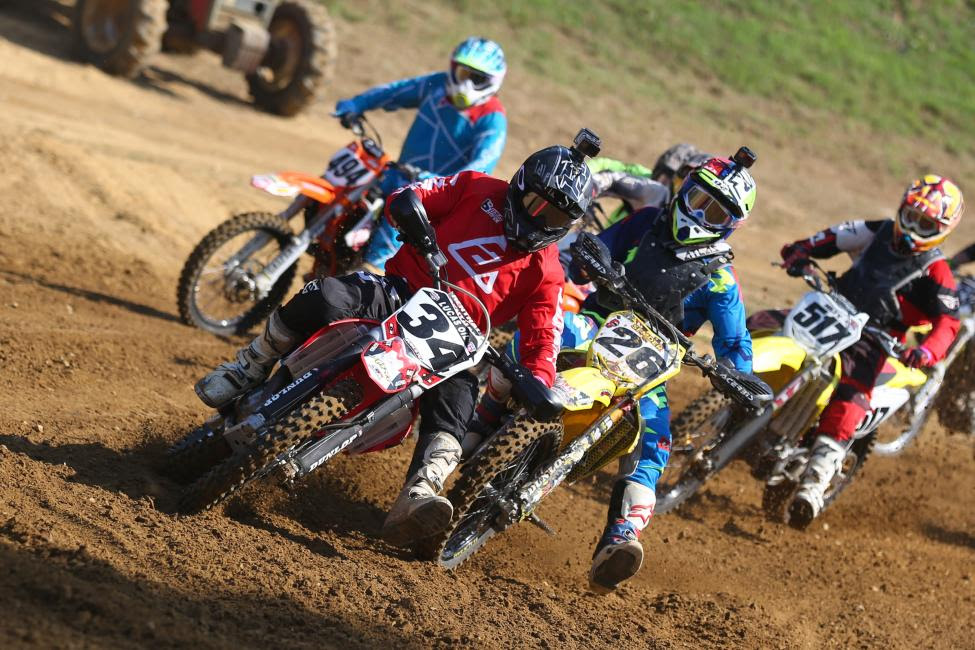 Kenny Blackwell (#34) and Brian Semder (26) battle for a line in the Masters 50+ class.