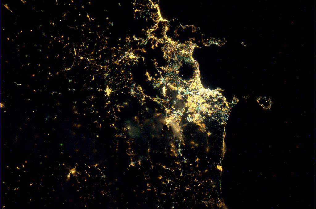 Naples, Italy, photographed using Nightpod (credit: ESA/NASA)