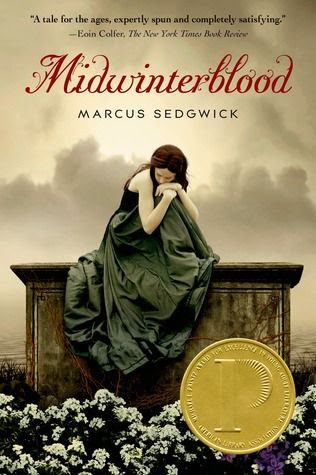 Midwinterblood - Marcus Sedgwick; new design after the Printz.  Beautiful cover.  And can we add the Printz sticker too? ;-)