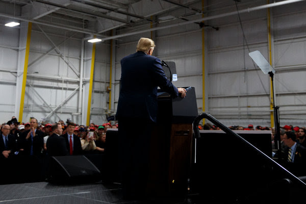 President Trump at a campaign rally on Saturday in Moon Township, Pa., in support of Rick Saccone, the Republican candidate for Congress in Pennsylvania's 18th District.