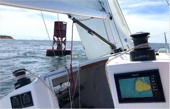 J/9 sailing past 1 BI Buoy at Block Island