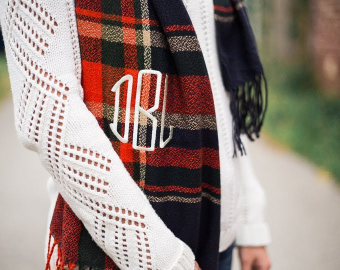 Monogrammed Scarf | Oversized Scarf | Long Scarf | Christmas Gift | Gift for Her | Bridesmaid Gift | Personalized Scarf | Gifts Under 30