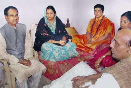 Sadhvi Pragya with MP CM Shivraj Singh and Rajnath Singh.