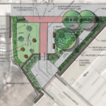 The new pocket park at Burling Lane will connect to the pedestrian bridge over I-95.  (Click to enlarge.)