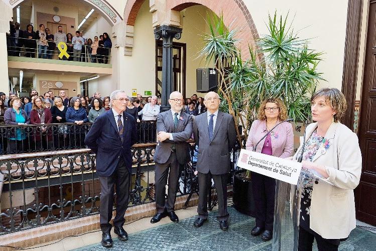 Un moment del parlament de la consellera Vergés, amb treballadors del Departament i els exconsellers Trias, Rius, Espasa i Geli.