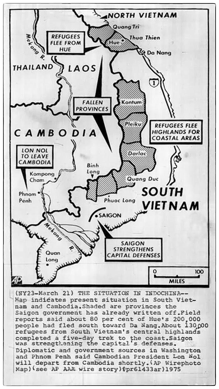 Bản đồ VNCH ngày 21 tháng Ba, 1975. Nguồn: AP