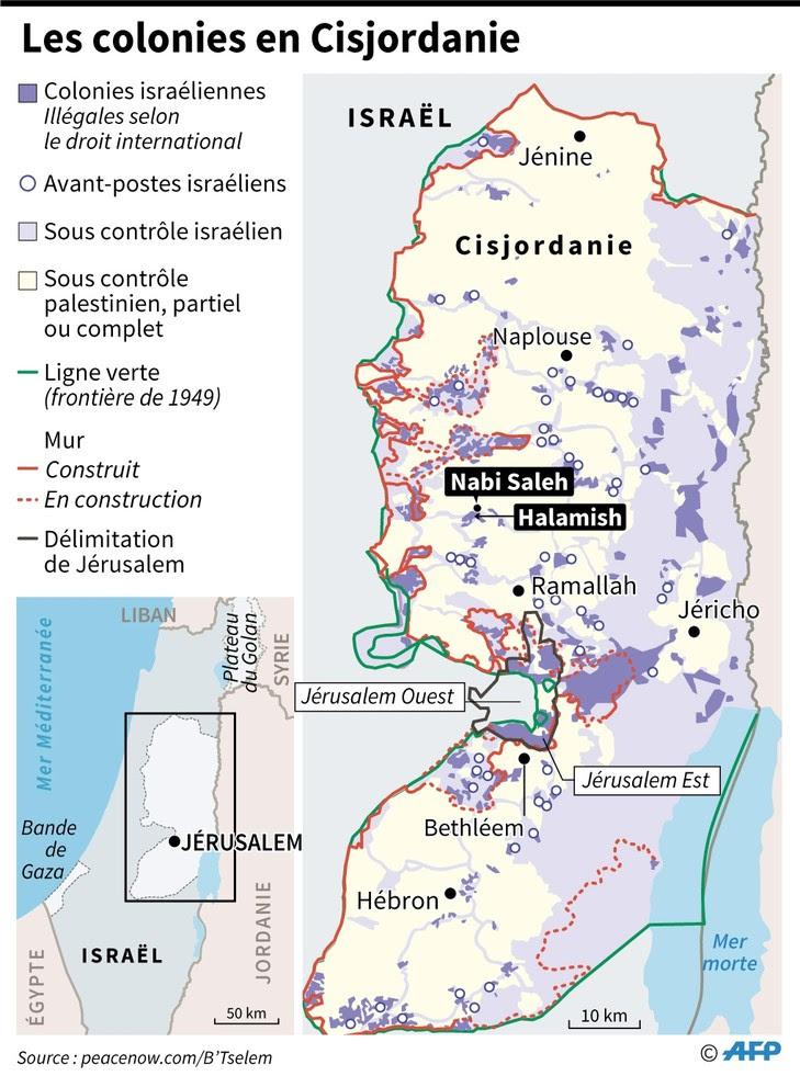 Carte des colonies israéliennes en Cisjordanie, dont celle de Halamish où des heurts ont opposé des Palestiniens et des colons israéliens, le 3 mars 2017 / AFP