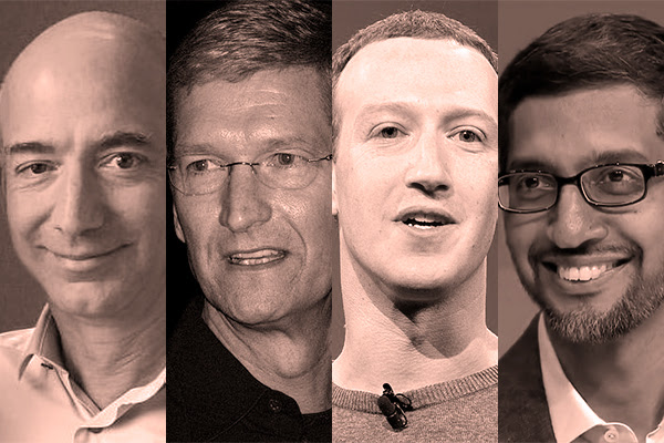 Los presidentes ejecutivos de las Big Tech Jeff Bezos (Amazon), Tim Cook (Apple), Mark Zuckerberg (Facebook) y Sundar Pichai (Google). Imagenes: Wikipedia Commons