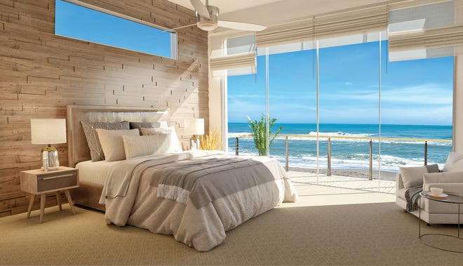 An artist's rendering of a master bedroom inside an oceanfront home at Harbor Island Beach Club.