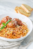 Italian Spaghetti and Ground Sirloin Meatball with Organic Kale