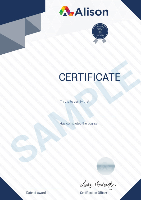 Sample Parchment Certificate  Alison Support