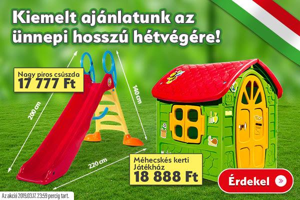 Kiemelt ajánlatunk az ünnepi hosszú hétvégére! Kerti játékház és csúszda akciósan!