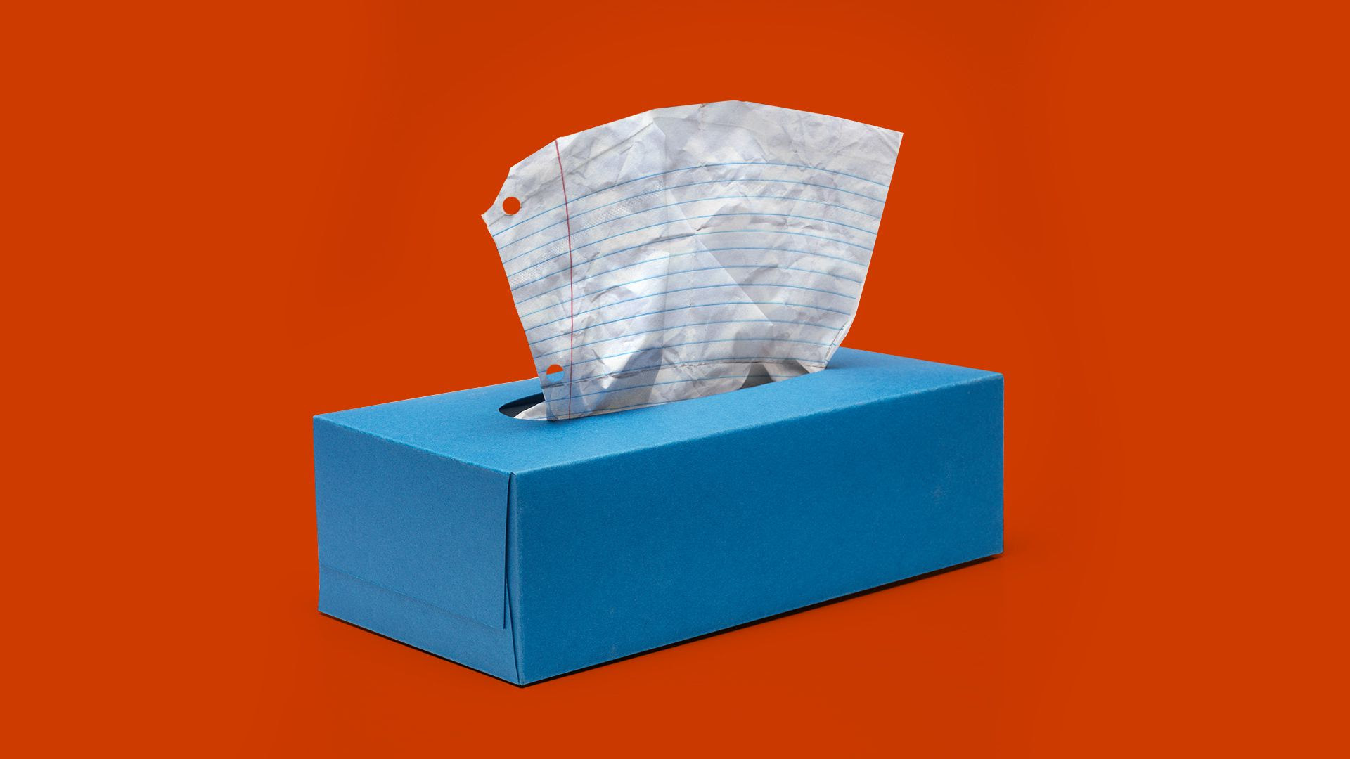 Illustration of a tissue box with ruled paper coming out instead of tissues.