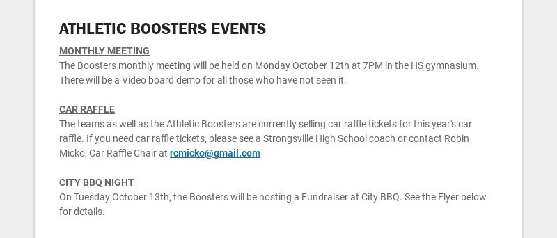 ATHLETIC BOOSTERS EVENTS MONTHLY MEETING The Boosters monthly meeting will be held on Monday...