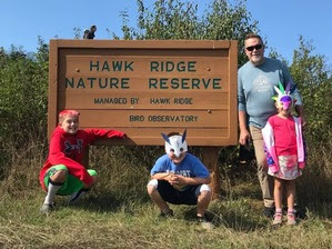 Grandpa and grandkids at Hawk Ridge