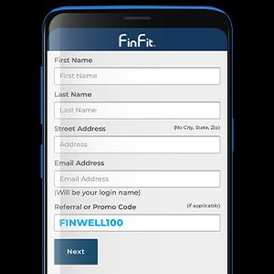 FinFit Registration MobileDevice