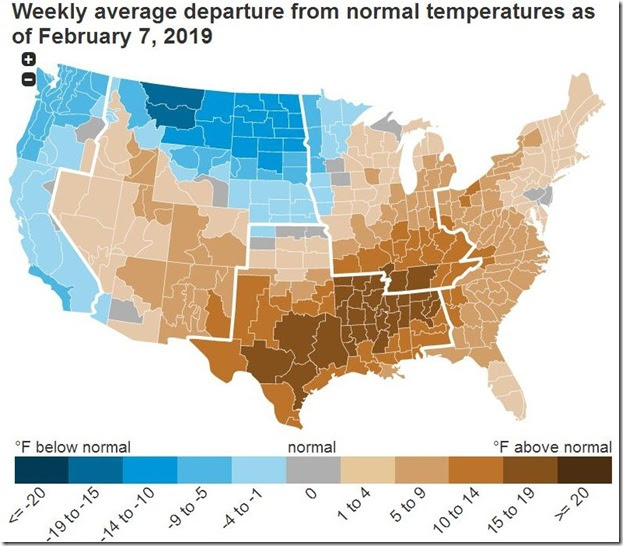 February 16 2019 temperature departure from normal for week ending February 7