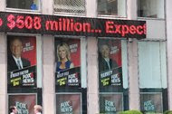 The Fox News headquarters in New York after a picture of the former Fox News anchor Gretchen Carlson was removed.